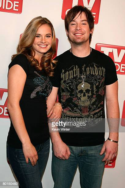 American Idol contestants Kristy Lee Cook and David Cook attend the American Idol Top 12 Party at the Pacific Design Center on March 6 2008 in West...