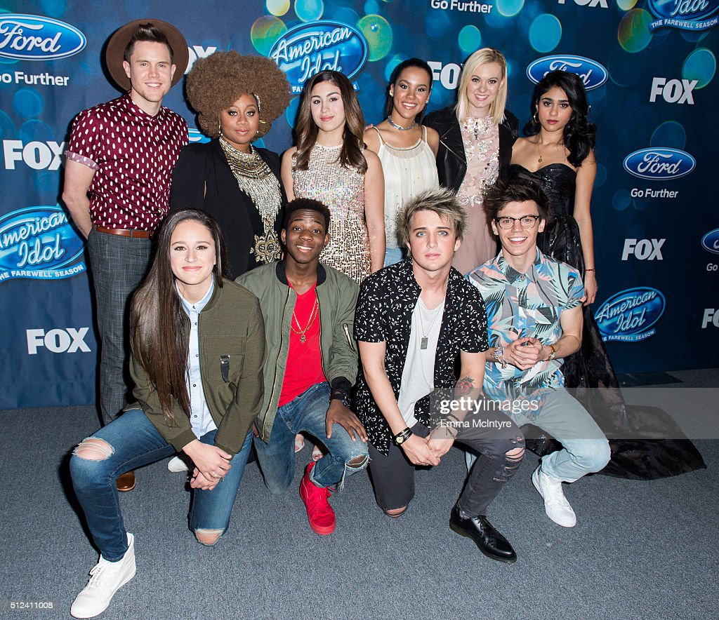 American Idol contestants (L-R) Trent Harmon, Avalon Young, La'Porsha Renae, Lee Jean, Gianna Isabella, Tristan McIntosh, Dalton Rapattoni, Olivia Rox, Mackenzie Bourg, and Sonika Vaid attend Meet Fox's 'American Idol XV' Finalists at The London Hotel on February 25, 2016 in West Hollywood, California.