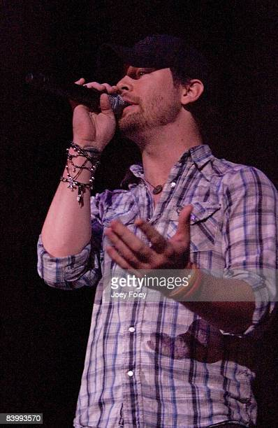 American Idol David Cook makes a surprise appearance and introduces Katy Perry during the end of night one of 2008 WNCI Jingle Ball concert at the...