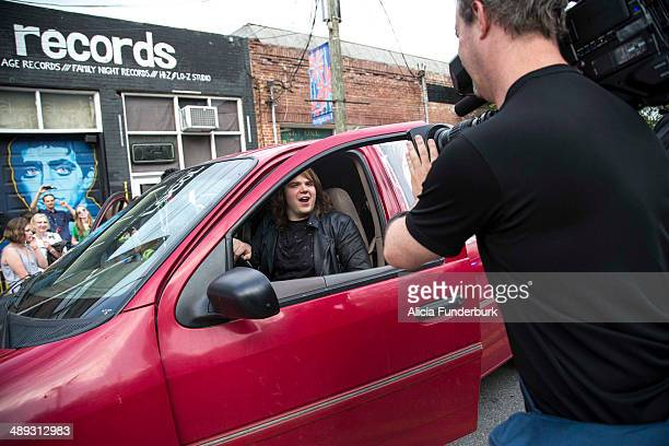 """American Idol"""" finalist Caleb Johnson arrives at The Emerald Lounge during his homecoming on May 10, 2014 in Asheville, North Carolina."""