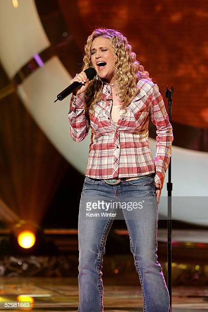 American Idol Finalist Carrie Underwood performs onstage the American Idol Finale Results Show held at the Kodak Theatre on May 25 2005 in Hollywood...