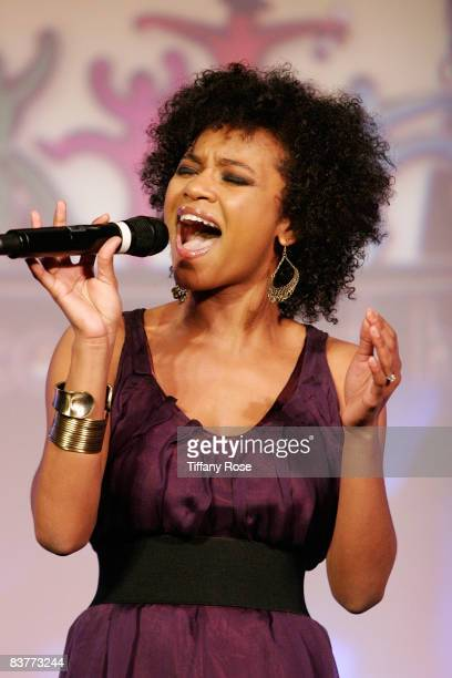 American Idol Finalist Syesha Mercado performs at A Place Called Home Gala Event Honoring herbalife CEO at The Beverly Hilton on November 20, 2008 in...