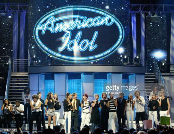 American Idol finalists and participants gather at the end of the taping of the American Idol in Vegas concert at the MGM Grand Garden Arena...