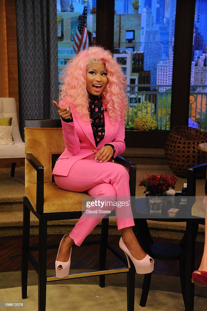 "MICHAEL -11/21/12 - ""American Idol"" judge NICKI MINAJ sits down with Kelly and Michael on the newly-rechristened syndicated talk show, LIVE with Kelly and Michael,' distributed by Disney-ABC Domestic Television. NICKI"