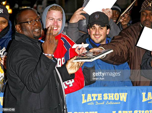 American Idol judge Randy Jackson visits Late Show with David Letterman on February 19 at the Ed Sullivan Theatre in New York City