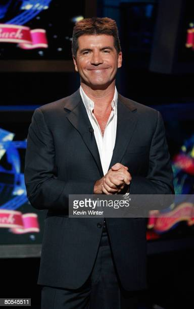 American Idol judge Simon Cowell speaks during the taping of Idol Gives Back held at the Kodak Theatre on April 6 2008 in Hollywood California Idol...