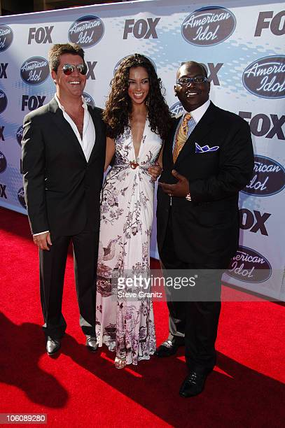 American Idol judge Simon Cowell Terri Seymour and American Idol judge Randy Jackson