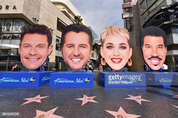 'American Idol' judges giant head display takes over the Walk of Fame on Hollywood Blvd at Hollywood Highland on March 12 2018 in Hollywood California