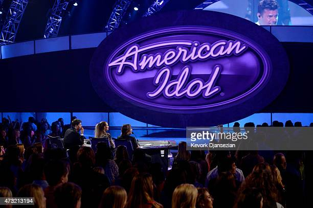 American Idol judges Harry Connick Jr Jennifer Lopez and Keith Urban onstage during American Idol XIV Grand Finale at Dolby Theatre on May 13 2015 in...