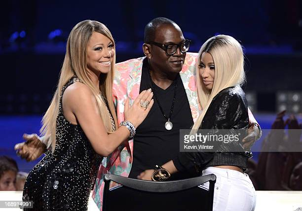 American Idol judges Mariah Carey Randy Jackson and Nicki Minaj are seen onstage during Fox's American Idol 2013 Finale Results Show at Nokia Theatre...