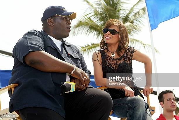 American Idol judges Randy Jackson and Paula Abdul appear during a taping for MTV Spring Break 2003 at the Surfcomber Hotel March 13 2003 in Miami...