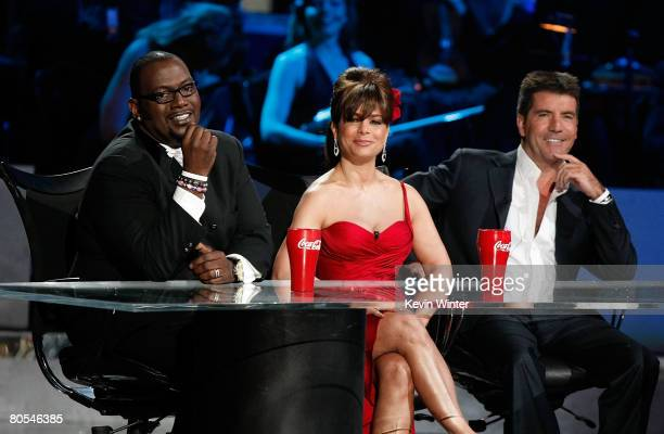 American Idol judges Randy Jackson Paula Abdul and Simon Cowell onstage during the taping of Idol Gives Back held at the Kodak Theatre on April 6...