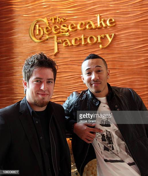 American Idol Lee DeWyze meets The Cheesecake Factory's Share Your Voice Contest Winner D'Angelo Watson at The Cheesecake Factory at The Grove on...