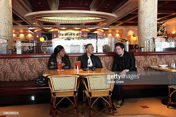 American Idol Lee DeWyze meets The Cheesecake Factory's Share Your Voice Contest Winner D'Angelo Watson and Vanessa Hamilton at The Cheesecake...
