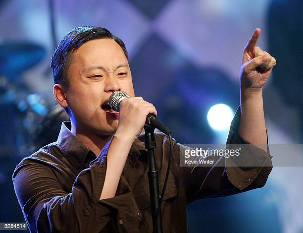 American Idol reject William Hung appears on The Tonight Show with Jay Leno at the NBC Studios on April 8 2004 in Burbank California