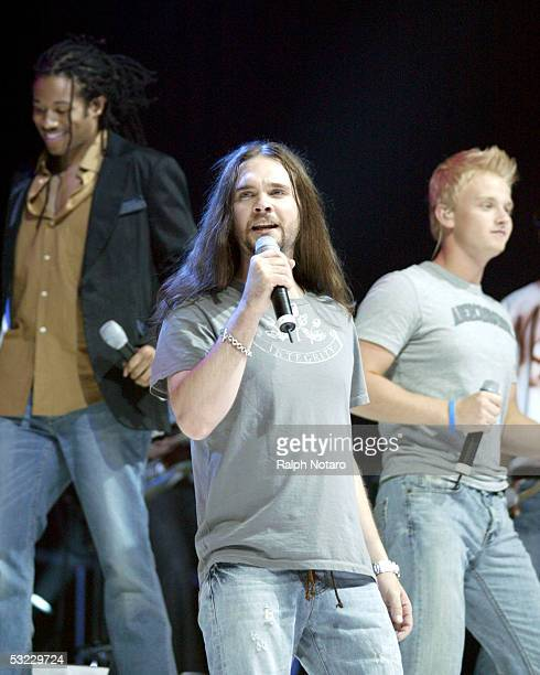 American Idol runner-up Bo Bice performs during the American Idols Live tour opening show at the Office Depot Center on July 12, 2005 in Sunrise,...