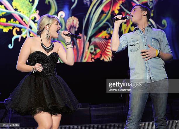 American Idol Season 10 finalist Lauren Alaina and American Idol Season 10 winner Scotty McCreery perform during the 2011 American Idols Live tour at...