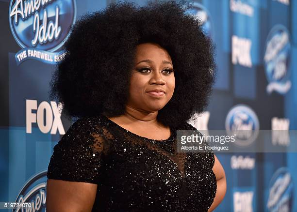 """American Idol Season 15 runner-up La'Porsha Renae poses in the pressromm at FOX's """"American Idol"""" Finale For The Farewell Season at Dolby Theatre on..."""