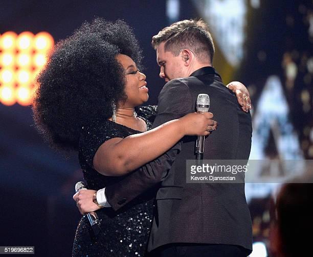 "American Idol Season 15 winner Trent Harmon and finalist La'Porsha Renae embrace onstage during FOX's ""American Idol"" Finale For The Farewell Season..."