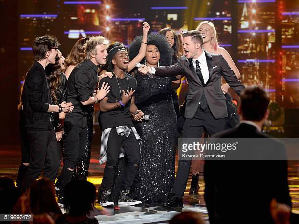 American Idol Season 15 winner Trent Harmon performs coronation song with finalist La'Porsha Renae and cast of Season 15 onstage during FOX's...