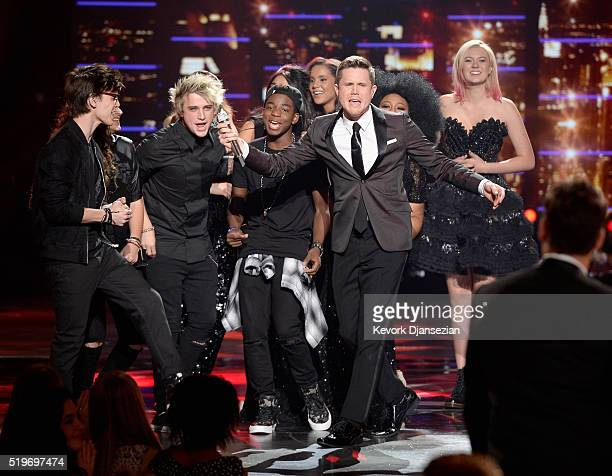 American Idol Season 15 winner Trent Harmon performs coronation song with cast of Season 15 onstage during FOX's 'American Idol' Finale For The...