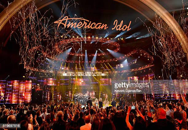 "American Idol Season 15 winner Trent Harmon performs coronation song with cast of Season 15 onstage during FOX's ""American Idol"" Finale For The..."