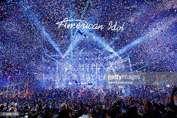 American Idol Season 15 winner Trent Harmon performs coronation song onstage during FOX's American Idol Finale For The Farewell Season at Dolby...