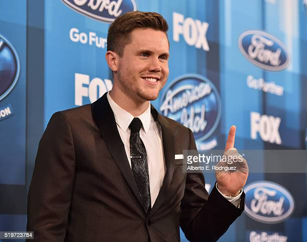 American Idol Season 15 winner Trent Harmon poses in the pressroom at FOX's 'American Idol' Finale For The Farewell Season at Dolby Theatre on April...