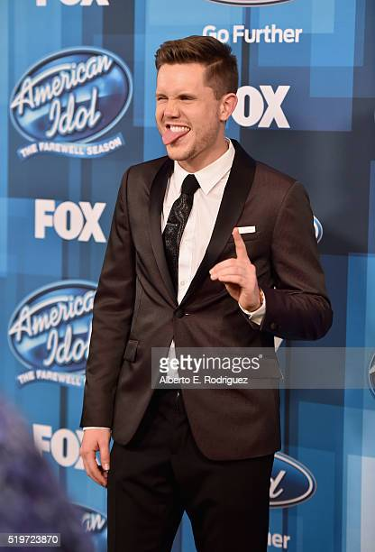 """American Idol Season 15 winner Trent Harmon poses in the pressroom at FOX's """"American Idol"""" Finale For The Farewell Season at Dolby Theatre on April..."""