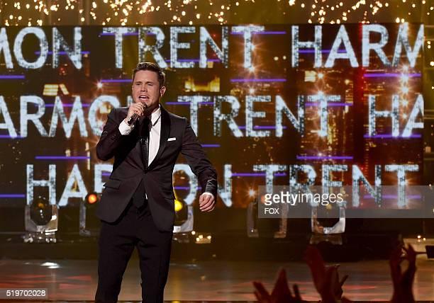 American Idol Season 15 winner Trent Harmon sings his winning song onstage at FOX's American Idol Season 15 Finale on April 7 2016 at the Dolby...