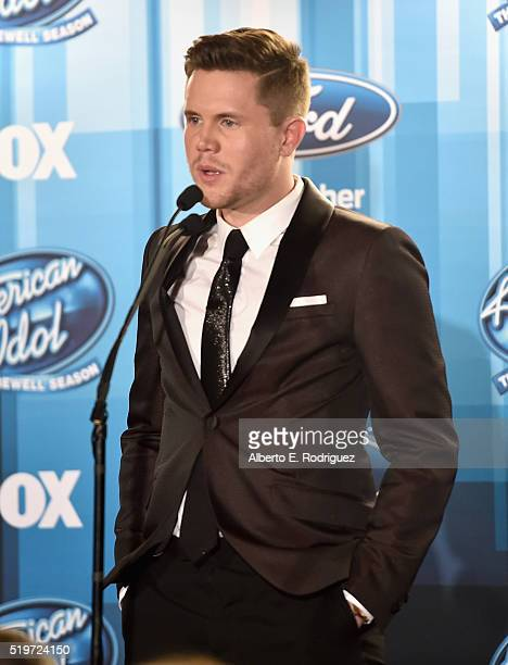 """American Idol Season 15 winner Trent Harmon speaks onstage in the pressroom at FOX's """"American Idol"""" Finale For The Farewell Season at Dolby Theatre..."""