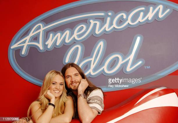 American Idol Season 4 Top 2 Finalists Carrie Underwood from Checotah Oklahoma and Bo Bice from Helena Alabama