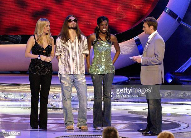 American Idol Season 4 Top 3 Finalists Carrie Underwood from Checotah Oklahoma Bo Bice from Helena Alabama and Vonzell Solomon from Fort Myers...
