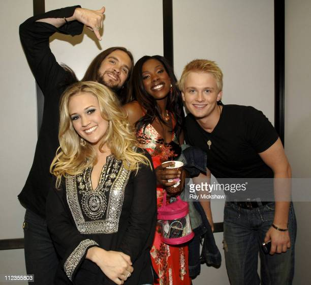 'American Idol' Season 4 Top 4 Finalists Bo Bice from Helena Alabama Carrie Underwood from Checotah Oklahoma Vonzell Solomon from Fort Myers Florida...