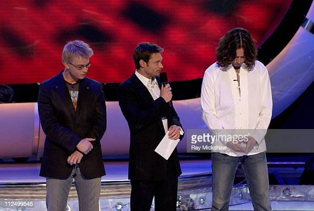 'American Idol' Season 4 Top 6 Finalists Anthony Fedorov from Trevose Pensylvania Ryan Seacrest and Constantine Maroulis from New York City New York