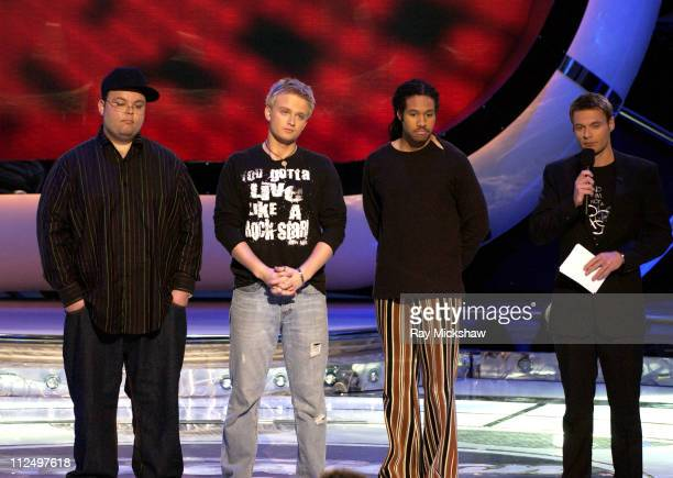 'American Idol' Season 4 Top 7 Finalists Scott Savol Anthony Fedorov and Anwar Robinson with Ryan Seacrest host