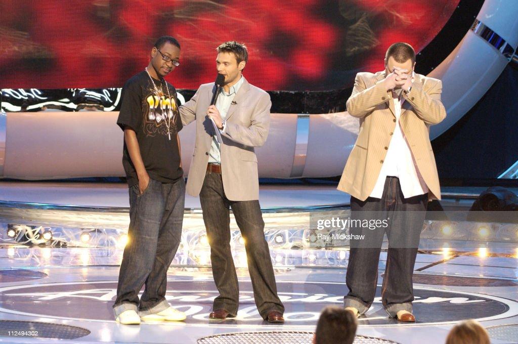 'American Idol' Season 4 - Top 9 Finalist, Nikko Smith, 22, from St. Louis, Missouri, Ryan Seacrest, host, and 'American Idol' Season 4 - Top 8 Finalist, Scott Savol, 28, from Cleveland, Ohio
