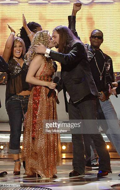 American Idol Season 4 Winner Carrie Underwood from Checotah Oklahoma celebrates with fellow finalists after being announced the next American Idol