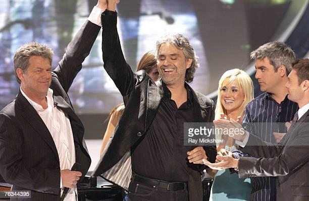 American Idol Season 5 David Foster Andrea Bocelli Kellie Pickler of Albemarle North Carolina Taylor Hicks from Birmingham Alabama and Ryan Seacrest...