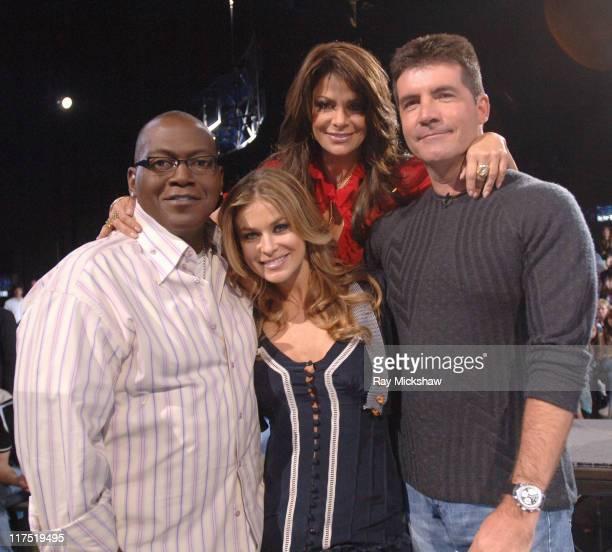 American Idol Season 5 Randy Jackson judge Carmen Electra Paula Abdul and Simon Cowell judges *EXCLUSIVE*