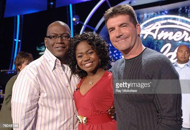 """American Idol"" Season 5 - Randy Jackson, judge, Top 5 Finalist, Paris Bennett from Fayettesville, Georgia and Simon Cowell, judge *EXCLUSIVE*"