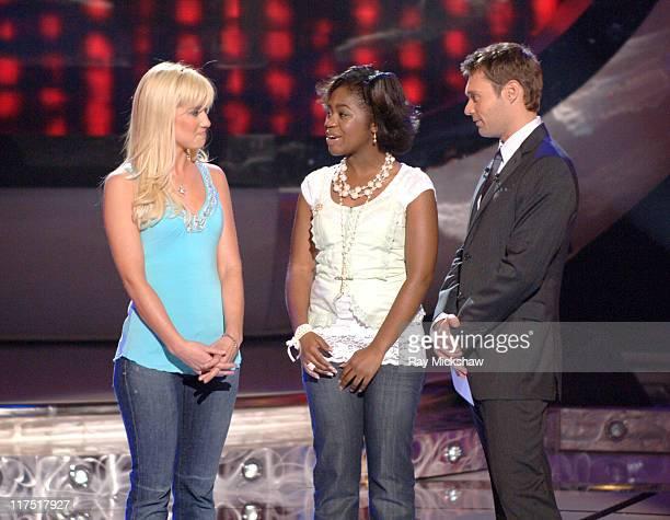 American Idol Season 5 Top 6 Finalists Kellie Pickler of Albemarle North Carolina Paris Bennett from Fayettesville Georgia and Ryan Seacrest host...