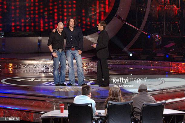 American Idol Season 5 Top 7 Finalists Chris Daughtry from McLeansville North Carolina Ace Young from Denver Colorado and Ryan Seacrest host...
