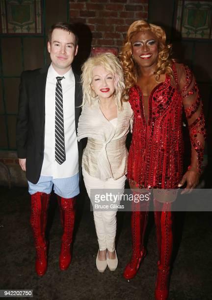 American Idol Season 7 Winner David Cook as Charlie Price Composer Cyndi Lauper and Wayne Brady as Lola pose backstage as the hit musical Kinky Boots...