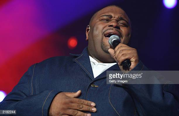 American Idol season two winner Ruben Studdard performs during the first stop of a 39-city tour at the Xcel Energy Center July 8, 2003 in St. Paul,...