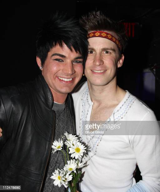 'American Idol' singer Adam Lambert and Gavin Creel pose backstage at the hit revival of 'Hair' on Broadway at the Al Hirschfeld Theatre on May 26...