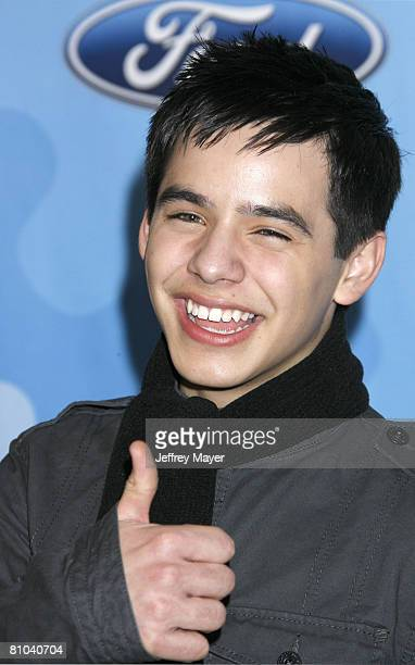 American Idol Top 12 contestant David Archuleta attends the American Idol Top 12 Party at the Pacific Design Center on March 6 2008 in West Hollywood...