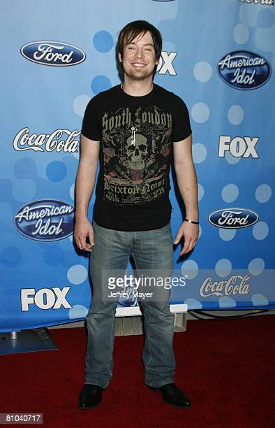 American Idol Top 12 contestant David Cook attends the American Idol Top 12 Party at the Pacific Design Center on March 6 2008 in West Hollywood...