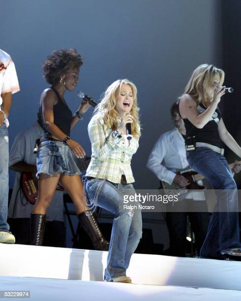American Idol Winner Carrie Underwood performs during the American Idols Live tour opening show at the Office Depot Center on July 12, 2005 in...
