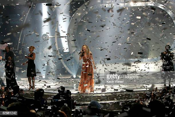 American Idol winner Carrie Underwood performs onstage at the American Idol Finale Results Show held at the Kodak Theatre on May 25 2005 in Hollywood...